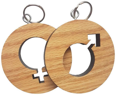 MESS Unisex Restroom Keychain - Chunky Durable American Red Oak - Bathroom Pass for Offices, Classrooms, and More
