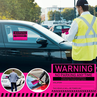 "Towing Stickers for Cars (Fluorescent Pink) - Warning No Parking Stickers/Hard to Remove and Super Sticky Parking Violations 8"" x 5"" by MESS"