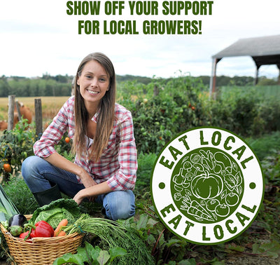Eat Local Vegetable Stickers 5 Large Decals 4x4-Inch - Perfect for Supporting Farmers, Growers, and Local Businesses - Bumper Sticker, Window Sticker and More