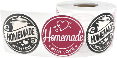 Homemade with Love Stickers Labels (500 Per Roll) 1.5 Inches for Canning, Baking, Salsas, Sauces, Preserves, Jams, and More - Cute Handmade Goods Labeling for Your Kitchen Creations.