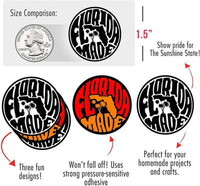 "Made in Florida State Pride Stickers (450/roll 1.5"" Circles) 3 Designs USA Stickers - Perfect for Business Owners Gifts, Packages, Products, and More by MESS"