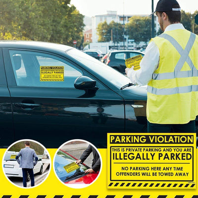 "Parking Violation Stickers for Cars (Fluorescent Yellow) - 25 No Parking Illegally Parked Cars in Private Parking Areas/Hard to Remove Super Sticky No Park Tow Warnings 8"" x 5"" by MESS"