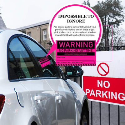 No Parking Violation Stickers Hard to Remove (Pink)