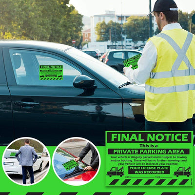 "MESS Parking Violation Stickers for Cars (Fluorescent Green) - Final Notice Private Parking Tow Warning/No Parking Hard to Remove and Super Sticky Adhesive 8"" x 5"""
