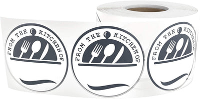 Personalized from The Kitchen of Decals 1.5-Inch Circles 500 Stickers Per Roll - Homemade Food Stickers Black & White