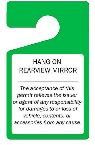 MESS Parking Permit Hang Tags (Green) Tough Thick Re-Usable Weatherproof Passes for Car Or Vehicle Rear View Mirrors