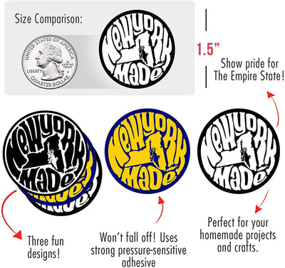 "Made in New York State Pride Stickers (450/roll 1.5"" Circles) 3 Designs USA Stickers - Perfect for Business Owners Gifts, Packages, Products, and More by MESS"