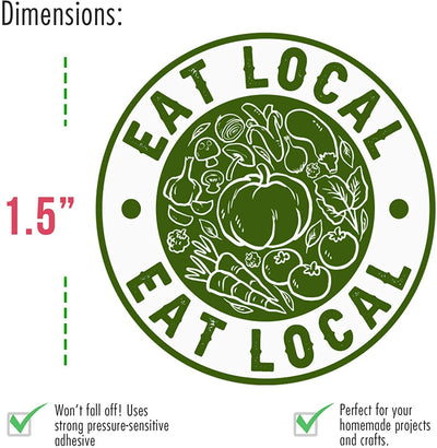 Eat Local Vegetable Stickers 150 Stickers 1.5-Inch Circles - Perfect for Supporting Farmers, Growers, and Local Businesses