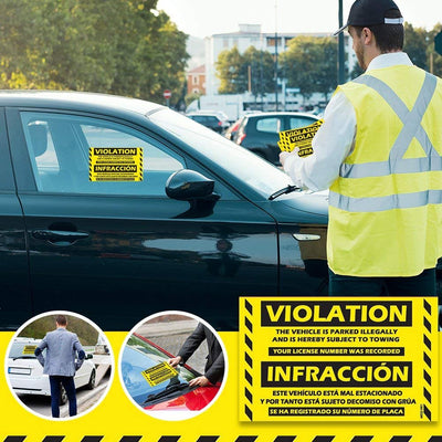 "MESS Parking Violation Stickers - Extremely hard to Remove (Yellow) - Bilingual Spanish Tow Warnings 8"" x 5"""