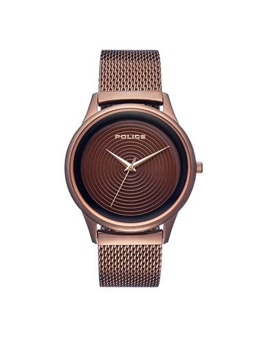POLICE SALERNO BROWN DIAL BROWN STRAP WATCH