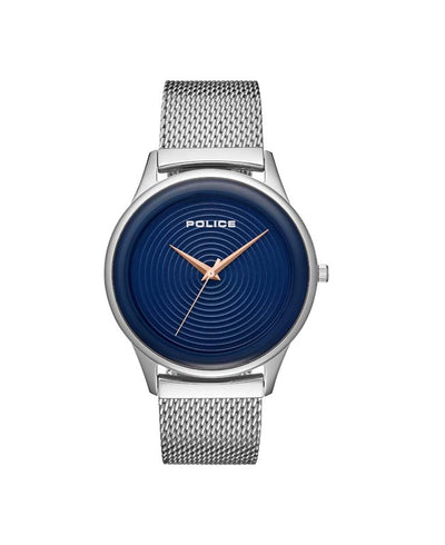 POLICE SALERNO BLUE DIAL IP STEEL MESH BAND WATCH