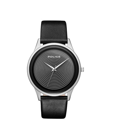 POLICE SALERNO BLACK DIAL BLACK LEATHER STRAP WATCH