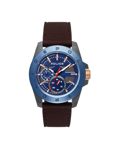 POLICE PECKHAM BLUE DIAL BRN SILICON STRAP WATCH