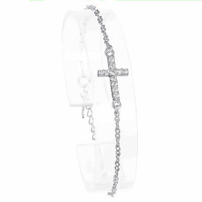 sterling silver CZ cross bracelets
