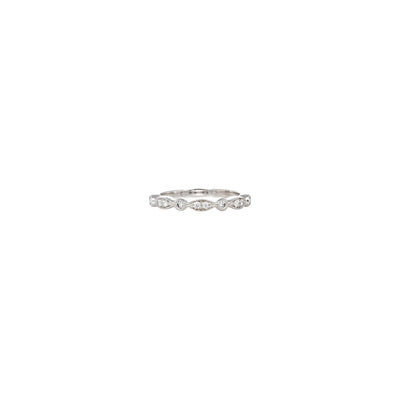 Verve White Gold 18K Diamond Wedding 0.20ct fancy bead set half circle Band