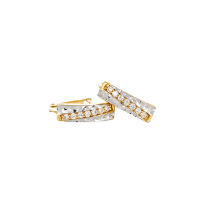 9k hoop two tone earings /cubic zirconuim/huggies oval shape
