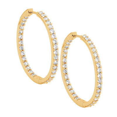 Ellani sterling silver gold plated hoop earrings/E183G