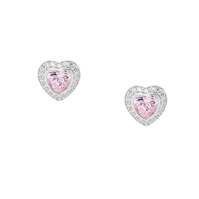 Ellani sterling silver pink love heart earrings/E224LP