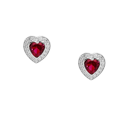 Ellani sterling silver love heart red stud earrings/E224R
