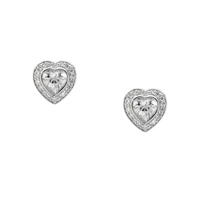 Ellani sterling silver love heart stud earrings/E224