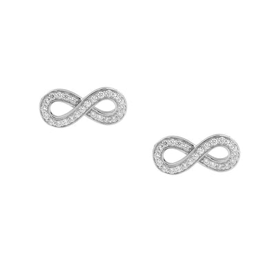 Ellani sterling silver infinity stud earrings/E373