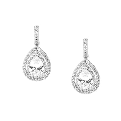 Ellani sterling silver tear drop earrings/E408W