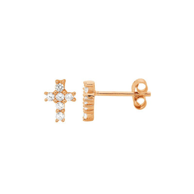 Ellani sterling silver cross stud earrings/E496R