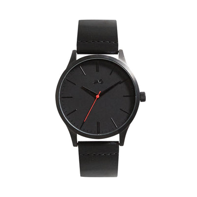 J1913/ MALCOM BLACK DIAL BLACK LEATHER STRAP WATCH