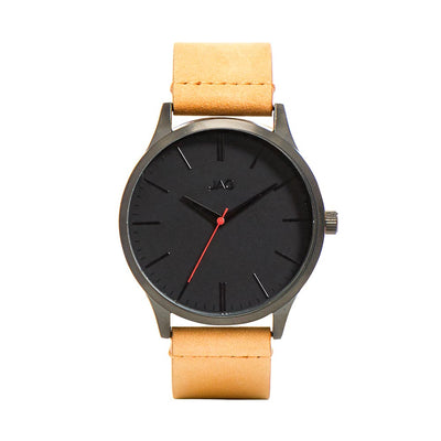 J1915/ MALCOM BLACK DIAL TAN LEATHER STRAP WATCH
