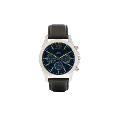 J1927/ HUGO BLUE DIAL BLACK LEATHER STRAP WATCH