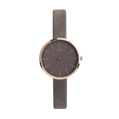 J1971/ JULIA GREY DIAL GREY LEATHER STRAP WATCH