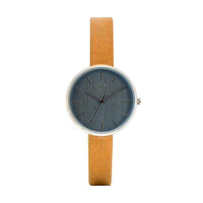J1973/ JULIA BLUE DIAL TAN LEATHER STRAP WATCH