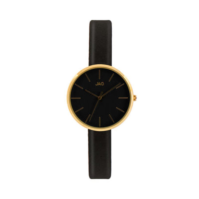J1974/ JULIA BLACK DIAL BLACK LEATHER STRAP WATCH