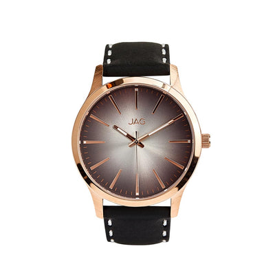 J2000/ HUNTER ROSE GOLD BLACK DIAL BLACK LEATHER STRAP WATCH
