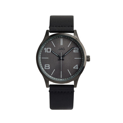 J2010/ MITCHELL GREY DIAL BLACK LEATHER STRAP WATCH