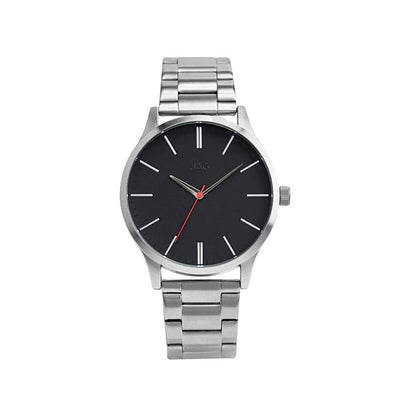 J2012A/ MALCOM BLACK DIAL SILVER B/LET WATCH
