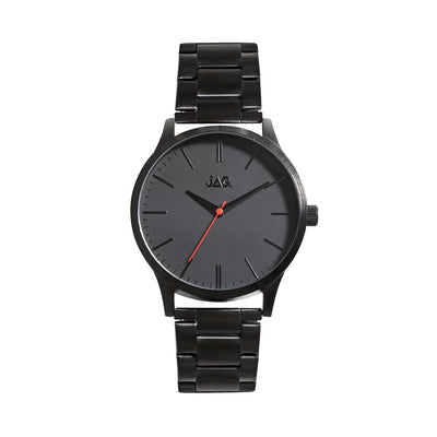 J2013A/ MALCOM BLACK DIAL BLACK SILVER STAINLESS STEEL B/LET WATCH