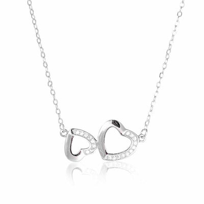 sterling silver CZ love heart necklace