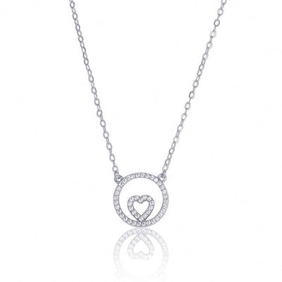 sterling silver CZ love heart circle necklace