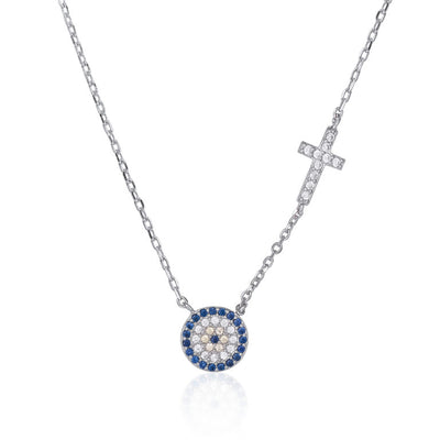 Sterling silver round Evil eye cross pendant