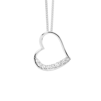 Ellani Stone Paved Heart Pendant Stirling Silver