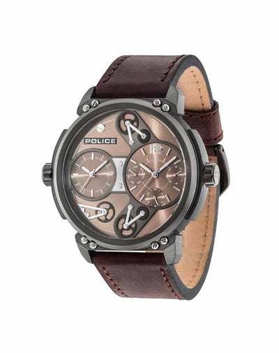 POLICE STEAMPUNK MULTI DK BROWN DL BROWN STRAP WATCH