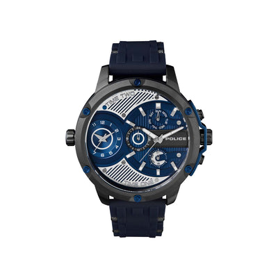 POLICE LEADER IP GUN DL BLUE SILICON STRAP WATCH