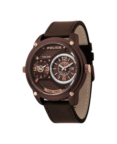 POLICE BLACKOUT BROWN DIAL BROWN STRAP WATCH