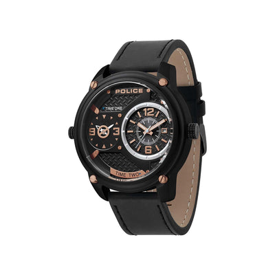 POLICE BLACKOUT BLK DIAL BLK LEATHER STRAP WATCH