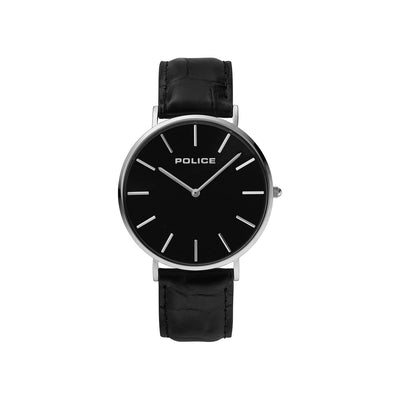 POLICE MAJESTIC BLACK DIAL BLACK LEA STRAP SET WATCH