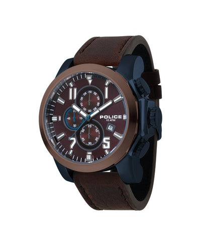 POLICE THRUST DARK BROWN DIAL BROWN STRAP WATCH