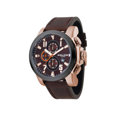 POLICE THRUST D/BRN DIAL BROWN LEATHER STRAP WATCH