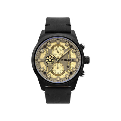 POLICE CHANDLER SILVER DIAL BLK LEA STRAP WATCH