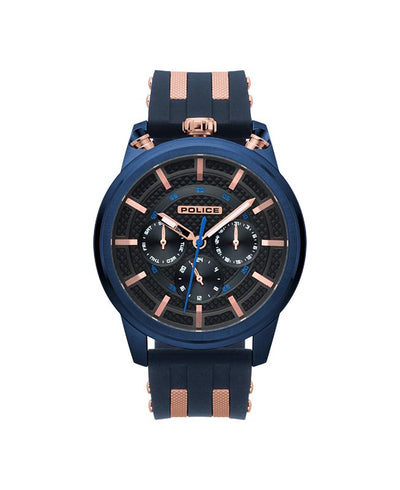POLICE UPSIDE GUN DIAL BLUE STRAP WATCH